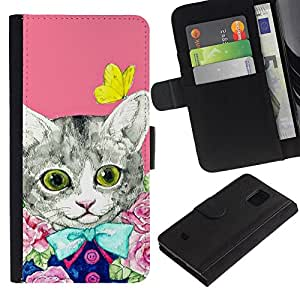 UberTech / Samsung Galaxy S5 Mini, SM-G800, NOT S5 REGULAR! / Kitty Kit Cat Kitten Pink Butterfly / Cuero PU Delgado caso Billetera cubierta Shell Armor Funda Case Cover Wallet Credit Card