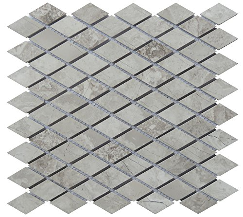 - Intrend Tile NS021-A Natural Stone Diamond Mosaic Tile Sheets, 13 x 12.25 x .37-Inches, Limestone Blend