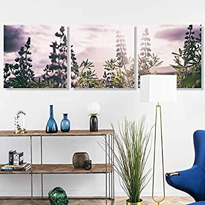 3 Panel Romantic Lavender Pictures Home Wall for Bedroom Living Room Paintings Framed 24 Panels
