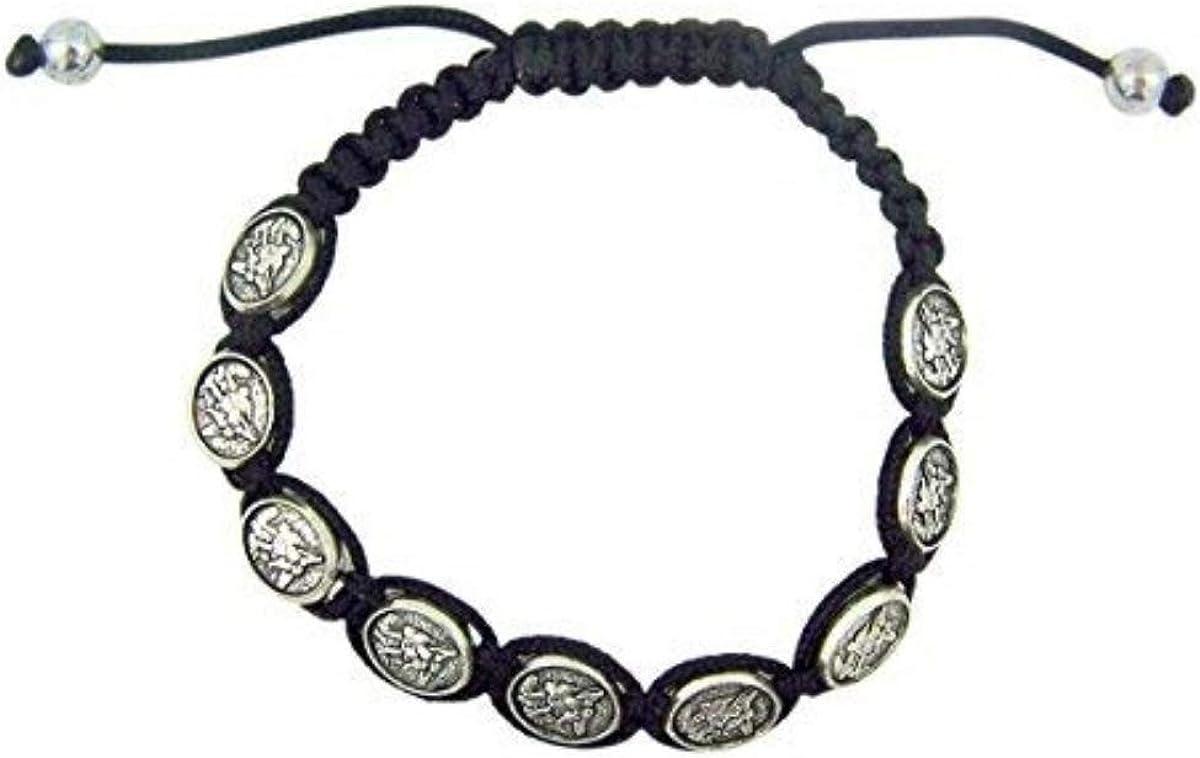 Silver Toned Archangel Saint Michael Medal on Adjustable Cord Bracelet, 8 Inch