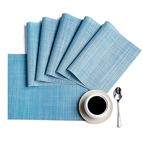 DOLOPL Placemats, PVC Table Mats,Placemat Sets of 6 Non-Slip Washable Coffee Mats,Heat Resistant Kitchen Tablemats (Blue) (Light Blue Placemats)