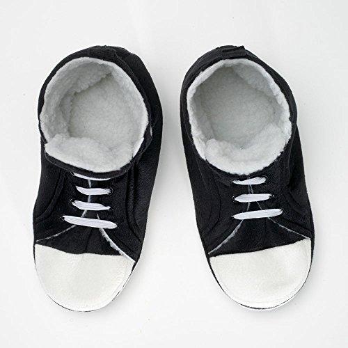Bits And Pieces Zapatillas Hi-top Sneaker - Retro Comfy Warm - Interior De Felpa - Suela Eva Antideslizante - Grande - Negro