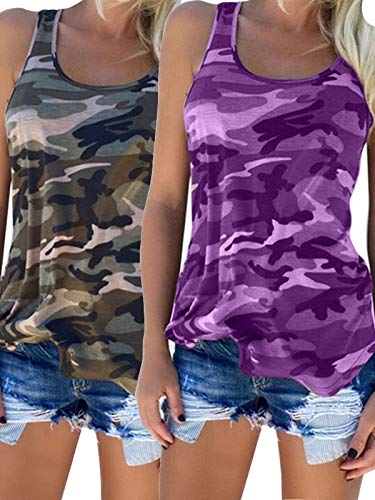 - Zcavy Women's 2-Pack Training Tanks Camouflage Cami Shirts Yoga Running Tee Top Comfy Activewear Tops Racerback Gym Exercise T-Shirt, Green/Purple, Small