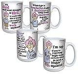 Set/4 Aunty Acid Coffee Mugs - Sassy Humorous Ceramic Drinkware 16 Oz