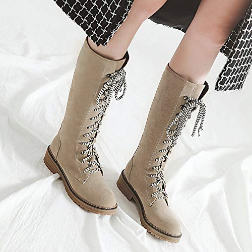 Toe Flat Tube Heels Look Low Long up 2018 Flock Women New Round Boots Middle Block Martin Beige Shoes Lace Walk tAd7wq6