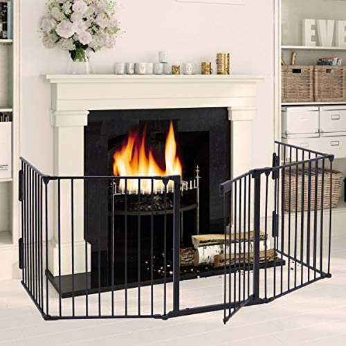 LAZYMOON Black Fireplace Fence Baby Safety Fence Hearth Gate Pet Gate Guard Metal Plastic Screen (Fence Fireplace Screen)