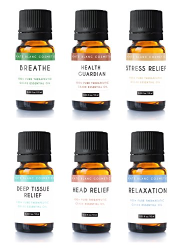 Blanc Set (Aromatherapy Essential Oil Blend (Set of 6) by Kate Blanc. Pure Therapeutic Grade Oils 10 ml Blends Include Breathe, Health Guardian, Stress Relief, Deep Tissue, Head Relief, Relaxation)
