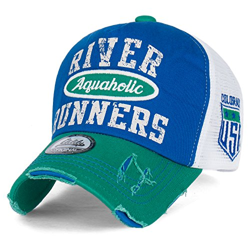 ililily RIVER RUNNERS Aquaholic Colorado Vintage Trucker Hat Baseball Cap , Green, Medium Distressed Print Cap