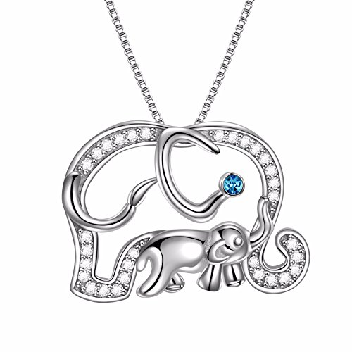 Mom and Baby Elephant Crystal Lucky Animal Pendant Necklace, 18