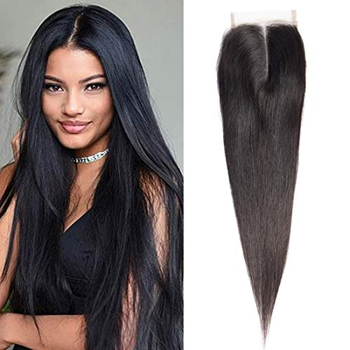 16 Inch Middle Part Straight 4X4 Lace Closure Natural Color 100% Brazilian Virgin Human Hair (Invisible Part Closure)