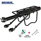GreatRich Rear Bike Rack, Bicycle Luggage Cargo Rack Solid Bearings Frame-Mounted for Heavier Top & Side Loads