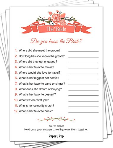 Papery Pop How Well Do You Know The Bride (50 Sheets) - Bridal Shower Games - Wedding Shower Games - Bachelorette Party Games