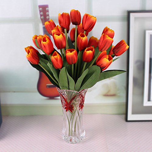 situmi人工フェイク花ヨーロピアンスタイルチューリップシミュレーション花花瓶ガラスセット自宅でリビングルーム装飾シルク花、オレンジ B072X9ZYFZ