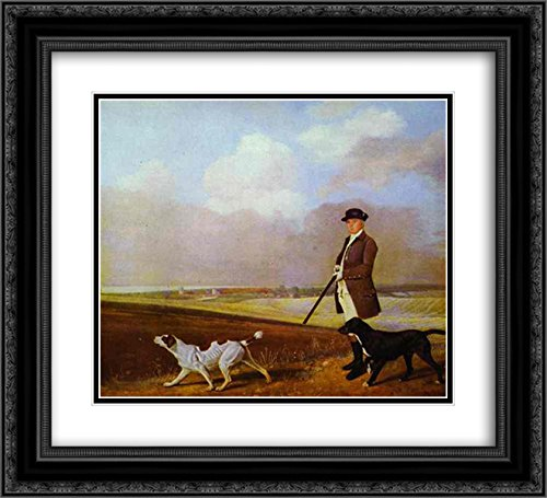 George Stubbs 2X Matted 22x20 Black Ornate Framed Art Print 'Sir John Nelthorpe, 6th Baronet Out Shooting with his Dogs in Barton Field, Lincolnshire'