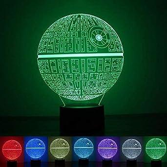 3D Illusion Lampe, Umiwe 3D Optische LED-Effekt Star Wars Death Star ...