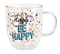 "Top Shelf Humorous ""Be Happy"" Double Wall Clear Glass Coffee Mug ; Funny Gift Ideas for Coffee Enthusiasts ; Novelty Gift for Mom, Dad, Sister, Grandma, and Friends"