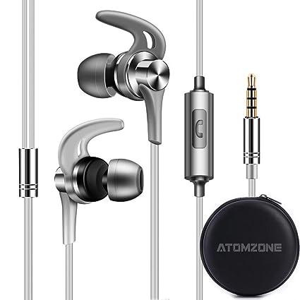 f445aa7315a Atomzone Auriculares In Ear Headphone Auriculares de Musica Audífonos Súper  Bass con Micrófono Auricular con Cancelación