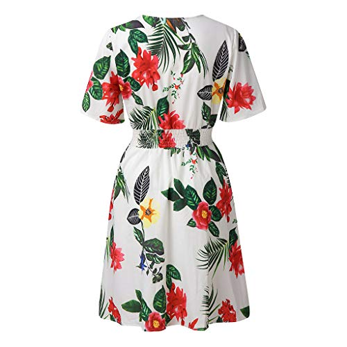 GHrcvdhw Europe and The United States New Short Sleeve Stylish Floral Print Skirt Elastic Waist Women Knee-Length Dress White