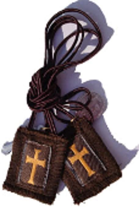 Short Cord 1010 Brown Scapular with Gold Cross