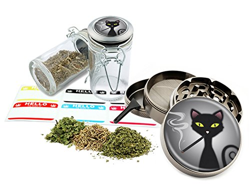 "Smoking Cat - 2.5"" Zinc Alloy Grinder & 75ml Locking Top Gla"
