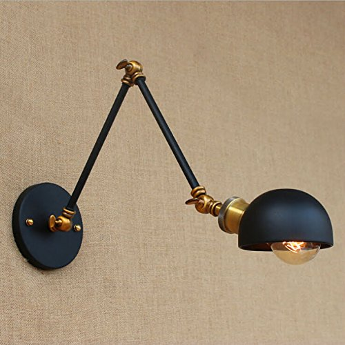 Swing Arm Vintage (SUSUO Lighting Vintage Style Rustic Wall Sconce Swing Arm Wall Lamp with Metal Dome Shade)
