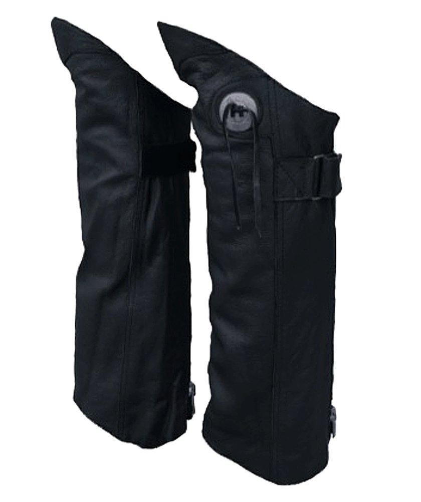 Motorcycle Biker Leather Half Chaps X-Large