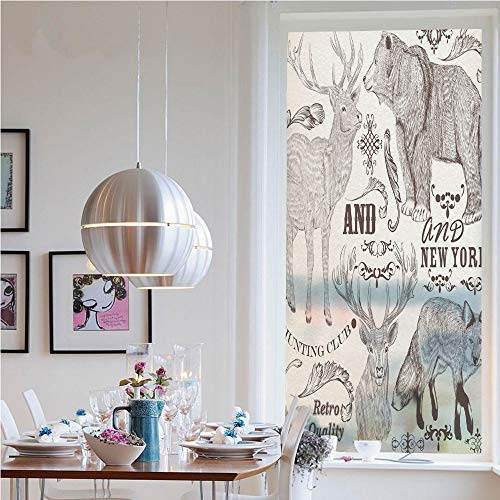 Self-Adhesive Privacy Glass Window Film,Collection of Sketchy Wild Animals Retro Style Floral Ornaments Fox Bear Deer Decorative(19.7