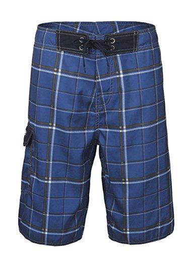 Nonwe Men's Beachwear Beach Shorts Quick Dry Plaid Pattern Sky Blue 30