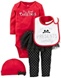 Simple Joys by Carter's Baby Girls' 4-Piece My First Christmas Set, Red/ Black Tutu, 3-6 Months