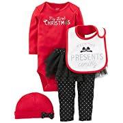 Simple Joys by Carter's Baby Girls' 4-Piece My First Christmas Set, Red/Black Tutu, 3-6 Months
