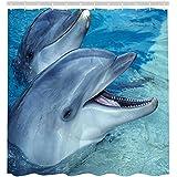 Sea Animal Dolphin Print Shower Curtain Hooks Waterproof Shower Accessories  69x84