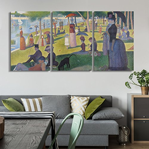 wall26 3 Panel World Famous Painting Reproduction on Canvas Wall Art - A Sunday on La Grande Jatte by Georges Seurat - Modern Home Decor Ready to Hang - 16