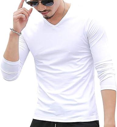 Camiseta Manga Larga con Cuello V En Manga Moda Larga para Hombres Camiseta Manga Larga con Cuello En V Camiseta Casual De Otoño: Amazon.es: Ropa y accesorios