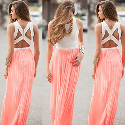 Transer ® Robe Femme, Ete Femme 2016 V Neck Sans Manche Mousseline de soie Boho longue Maxi Dress Party Robe De Cocktail SoiréE Mini-Robe Sundress Rose(S-XL)