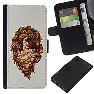 A-type (Impresionante Mujer León Hair Style) Colorida Impresión Funda Cuero Monedero Caja Bolsa Cubierta Caja Piel Card Slots Para Sony Xperia Z1 L39