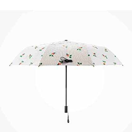 Chica paraguas rayas impreso de la flor plegable Paraguas mujer lluvia y lluvia doble paraguas 3