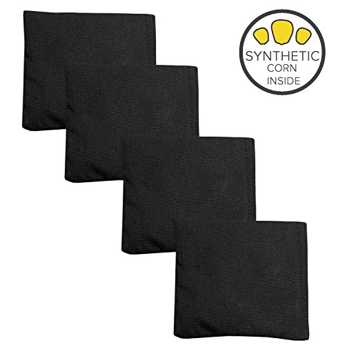 Play Platoon Weatherproof Duck Cloth Cornhole Bags - Set of 4 Black Bean Bags for Corn Hole Game - Made with Corn-Shaped Synthetic Corn