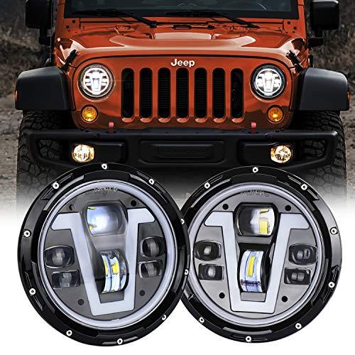 (MOVOTOR Jeep Wrangler Headlights Halo 7 inch LED with Amber Turn Signal Lights V Type White DRL Hi Lo Beam for JK CJ TJ JKU Hummer H1 H2)