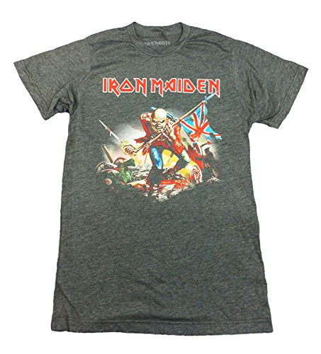 Iron Maiden Trooper (Iron Maiden T-shirt Trooper Tee British Flag-Charcoal Heather-large)