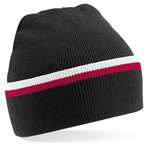 Beechfield - Gorro de punto para invierno estilo Beanie unisex - Black / red / white