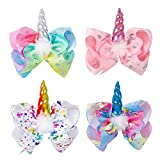 Ncmama 7 Inch Unicorn Hair Bows Girls Boutique Party Hair Clip For Children Kids Pack of 4