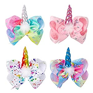 Large Unicorn Hair Bows With Elastic Band for Cheerleader Girls Pack of 4