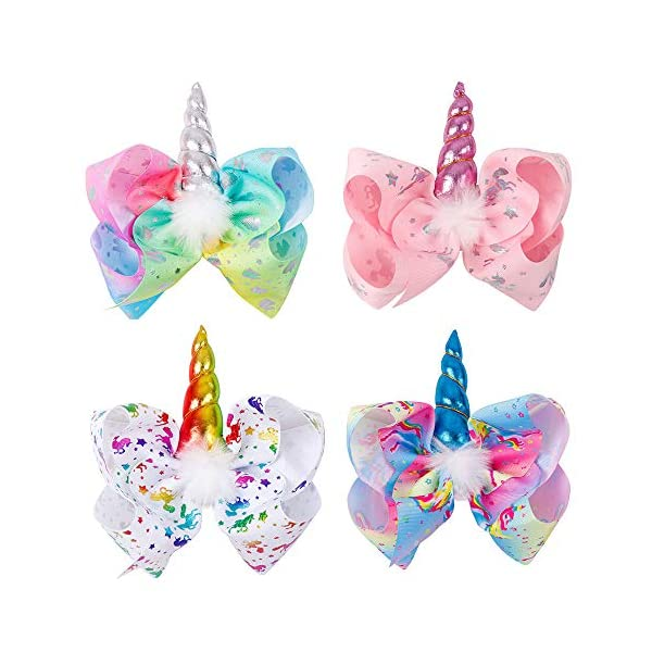 Large Unicorn Hair Bows With Elastic Band for Cheerleader Girls Pack of 4 3