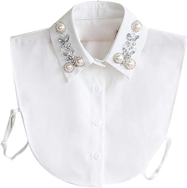 Zonfer Perlas de imitación Falso collar falso collares mitad Camisa Dickey cuello desmontable para la Mujer: Amazon.es: Ropa y accesorios