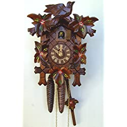 Schneider 9 Inch Quartz Handpainted Flowers Black Forest Cuckoo Clock