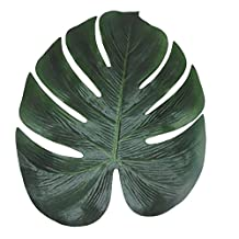 XHSP Fake Faux Artificial Tropical Palm Leaves Green Monstera Leaves for Home Kitchen Party Decorations Handcrafts/40pcs