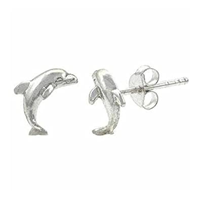 d8ff6fb29 Sterling Silver Mini Dolphin Stud Earrings: Royal Design: Amazon.co.uk:  Jewellery