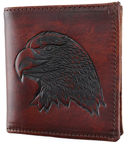 Mens Top Grain Leather Hipster Wallet,Made in USA,Antique brown, eagle head,AB802-40