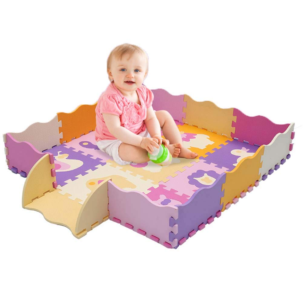 MRXUE Baby-Weiche Eva-Puzzle-Schaum-Matte Mit Zaun Groß 48