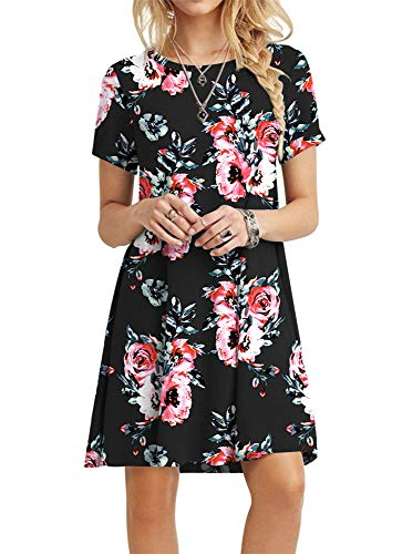 - POPYOUNG Women's Summer Casual Tshirt Dresses Beach Dress X-Large, Floral Black